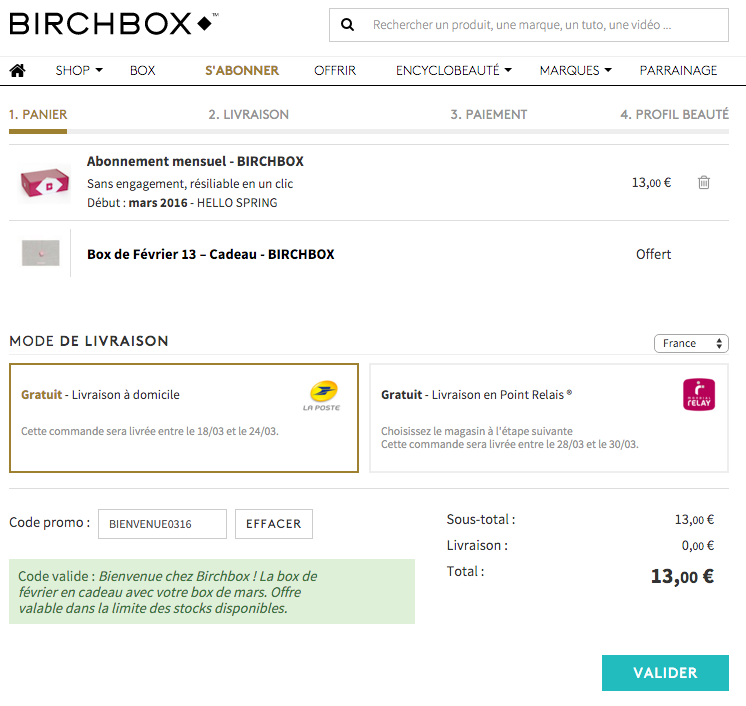 BirchBox code promo mars 2016 Hello Spring Fevrier offerte en plus