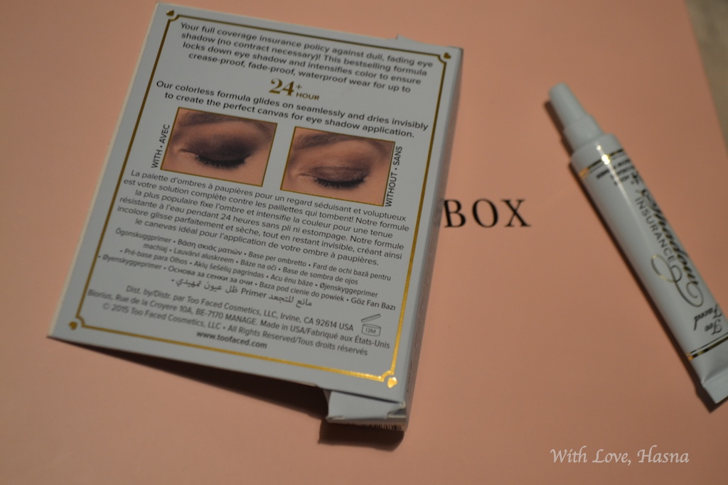 GlossyBox Mars 2016_ Heroine au quotidien_ Too faced shadow insurance 2_