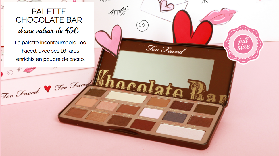PALETTE CHOCOLATE BAR GLOSSYBOX EDITION LIMITEE TOO FACED
