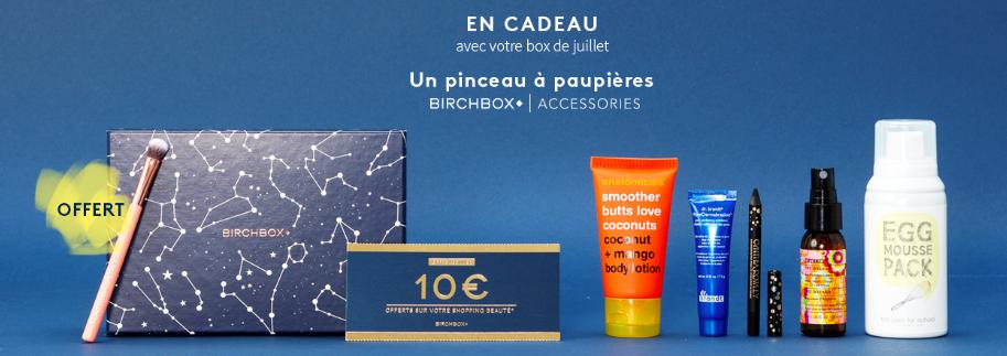 BirchBox Juillet 2016 - A la belle etoile - contenu Code promo bon plan pinceau yeux birchbox acessories
