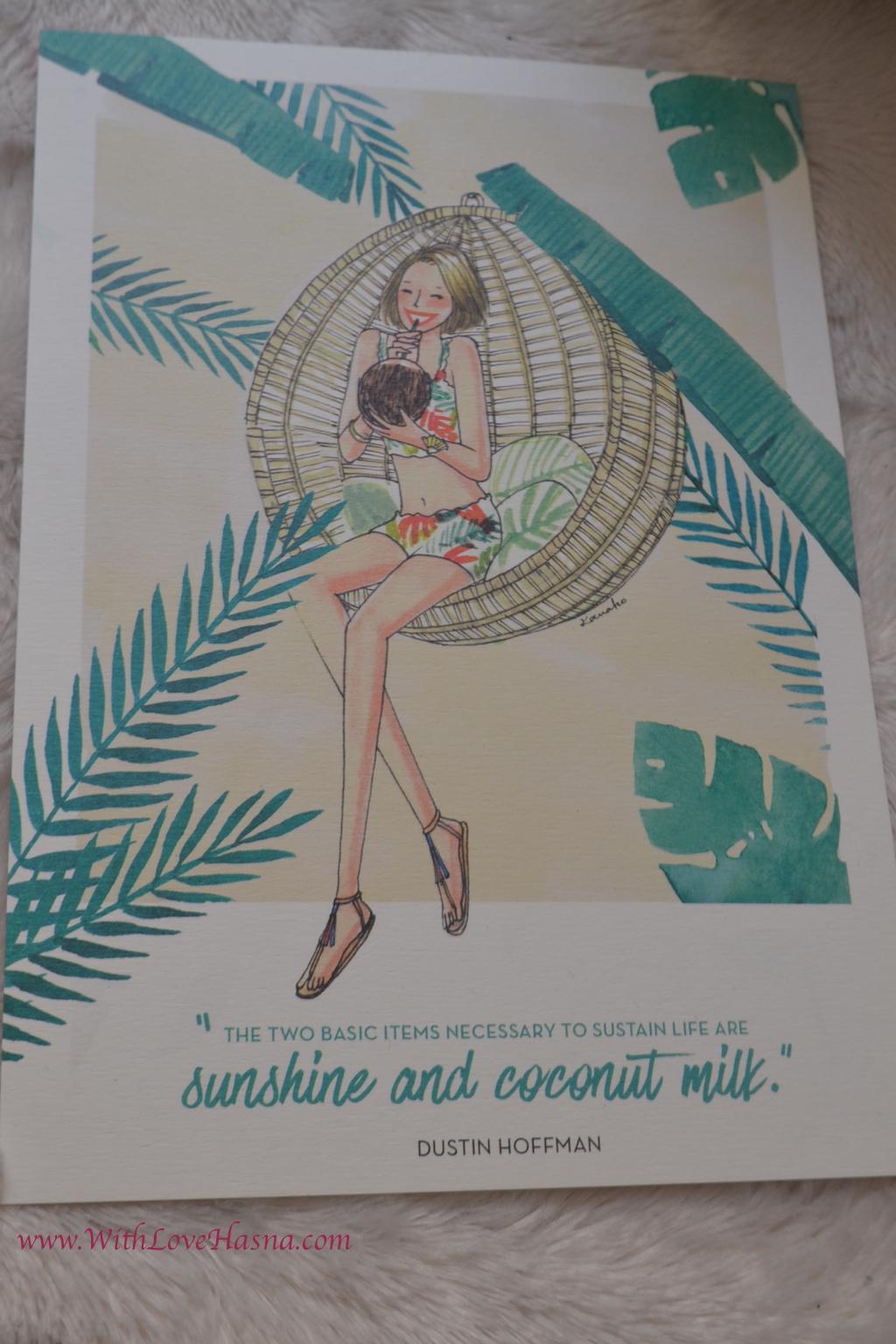 My Little Coco Box Juillet 2016 _ carte kanako sunshine and coconut milk